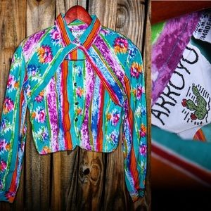 Vintage Arroyo blouse Aztec Native Western theme S